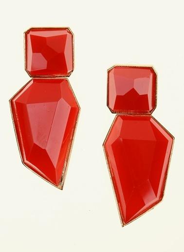 Loves You Kristal Geometrik Küpe Bordo